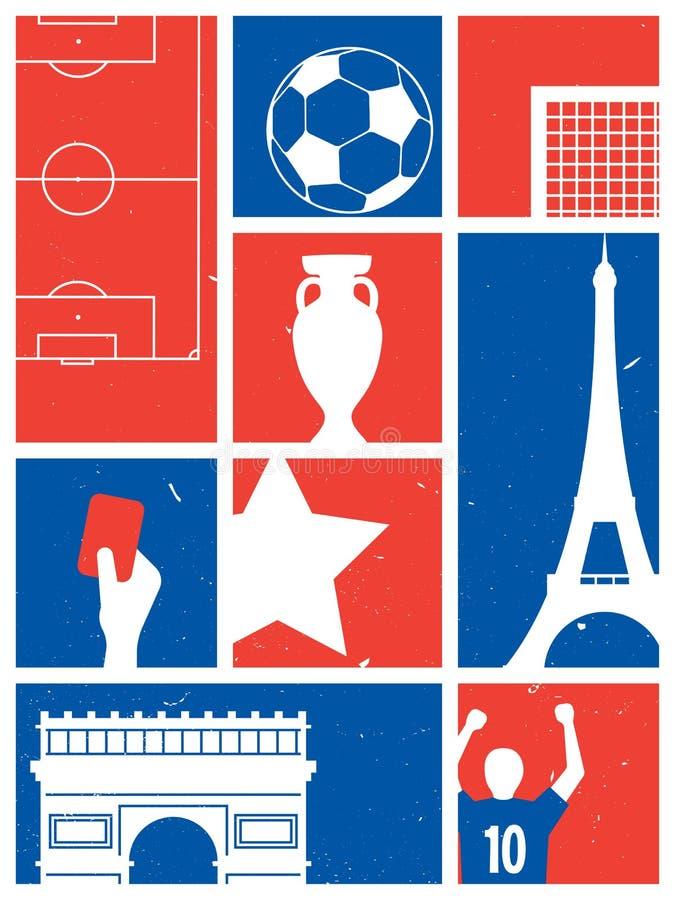 Предпосылка футбола/футбола Франции Плакат футбола ретро бесплатная иллюстрация