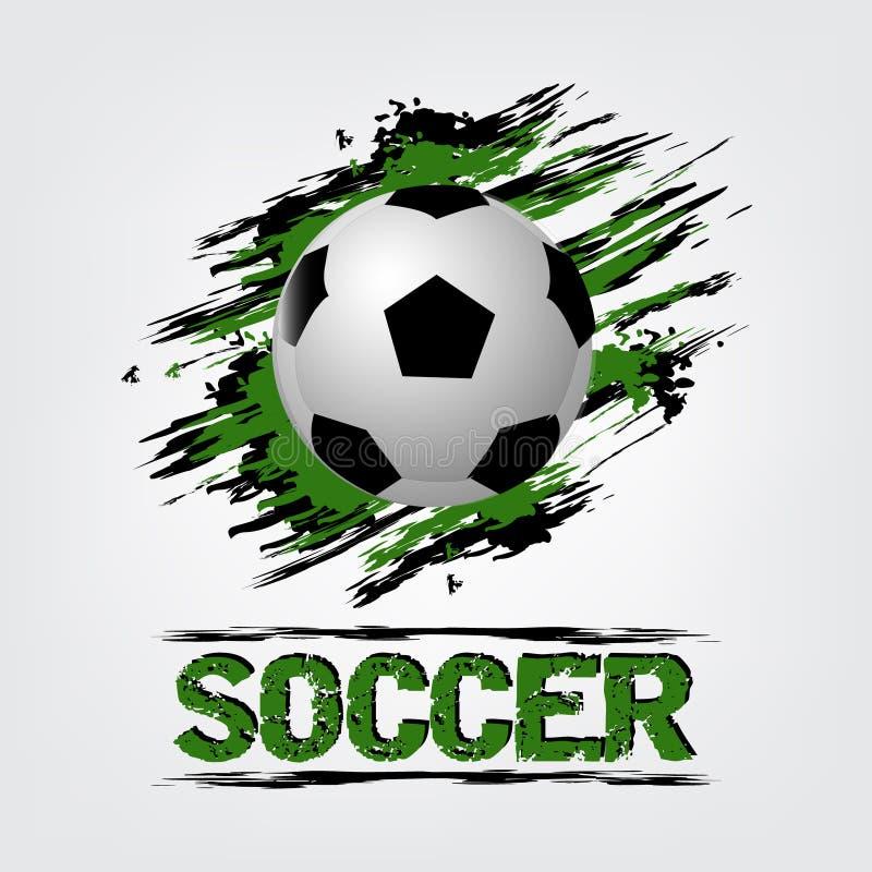 Предпосылка футбольного мяча с влиянием grunge иллюстрация вектора