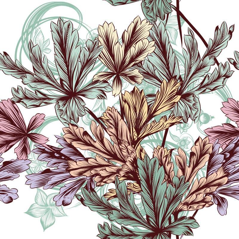 Предпосылка флористического вектора безшовная с пастельной листвой иллюстрация вектора
