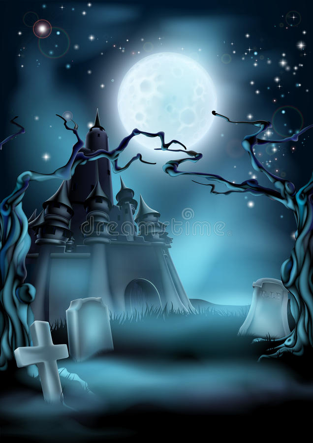 Предпосылка хеллоуина погоста и замка иллюстрация вектора