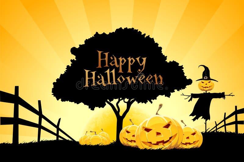 Предпосылка хеллоуина с тыквой и чучелом иллюстрация штока