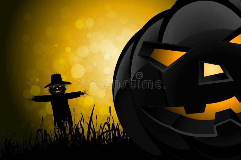 Предпосылка хеллоуина с чучелом и тыквой иллюстрация штока