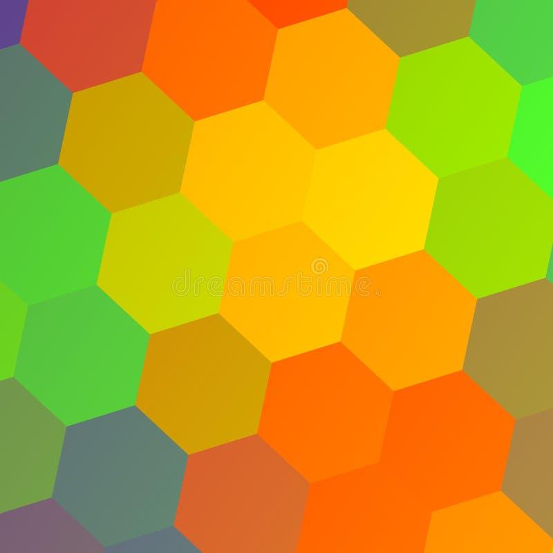 предпосылка цветастая Текстура шестиугольника Картина дизайна шаблона Визитная карточка иллюстрации Абстрактное влияние фона экра иллюстрация штока