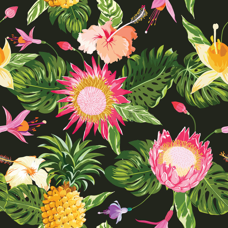 предпосылка цветет тропическое иллюстрация вектора