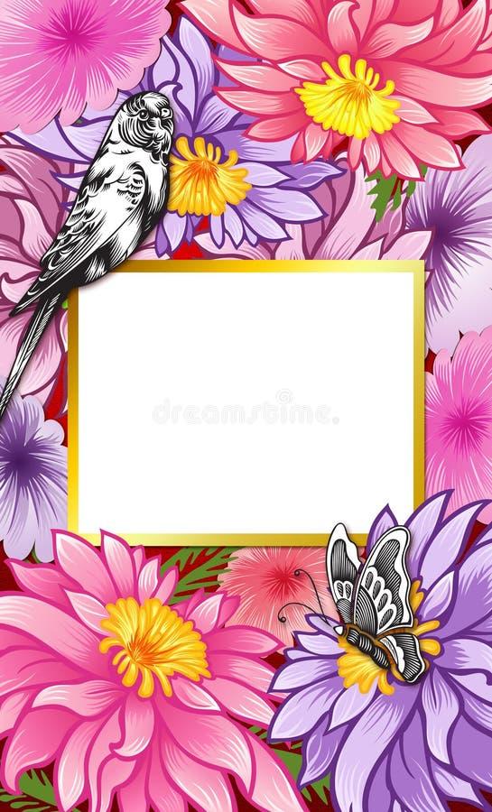 Предпосылка цветка, флористическое приглашение свадьбы иллюстрация штока