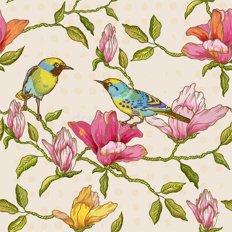 Предпосылка цветков и птиц иллюстрация вектора