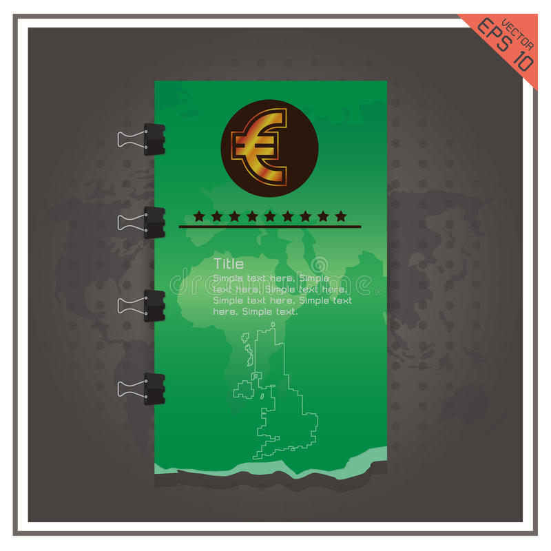 Предпосылка черноты вектора золота бумажных денег дела евро иллюстрация вектора