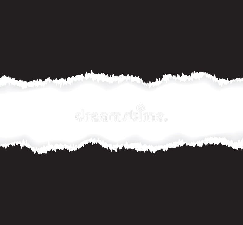 Предпосылка черно-белой сорванной бумаги иллюстрация штока