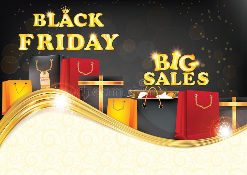 Предпосылка черных продаж пятницы больших printable иллюстрация вектора