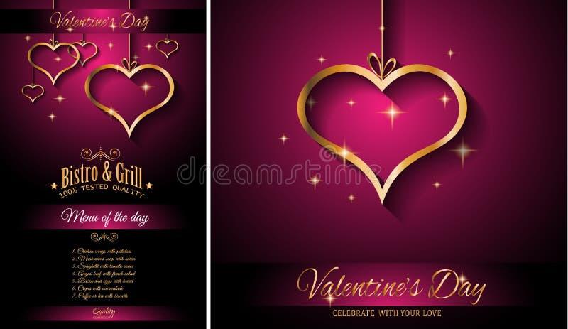 Предпосылка шаблона меню ресторана дня ` s валентинки для романтичного обедающего бесплатная иллюстрация