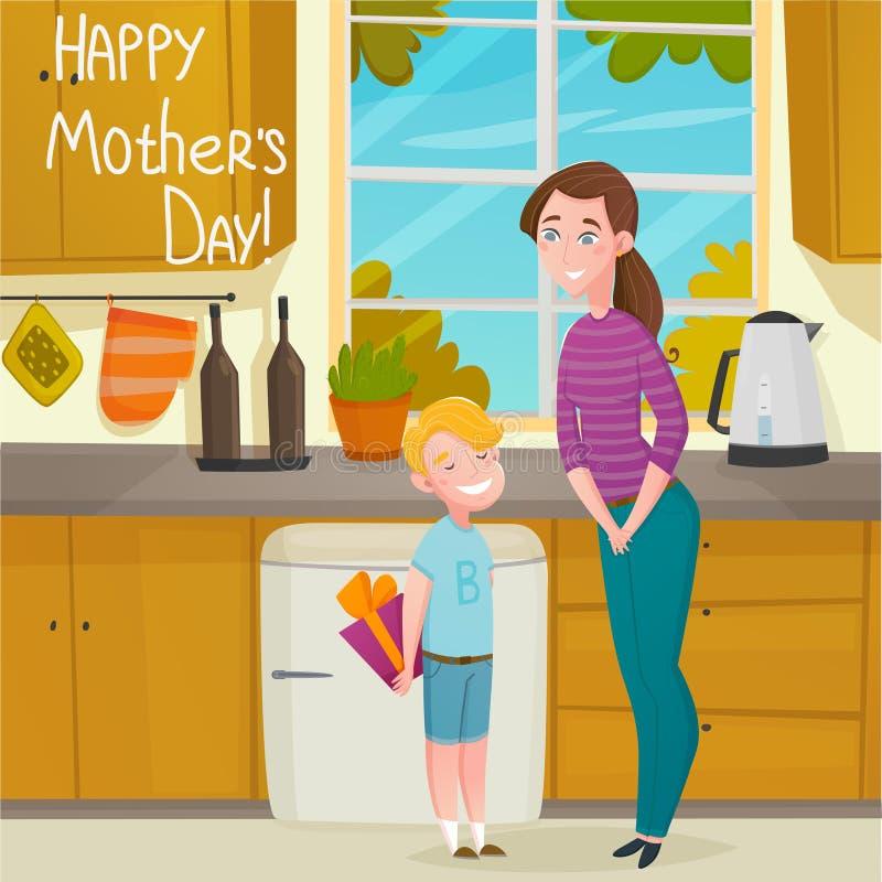 Предпосылка шаржа дня матерей бесплатная иллюстрация