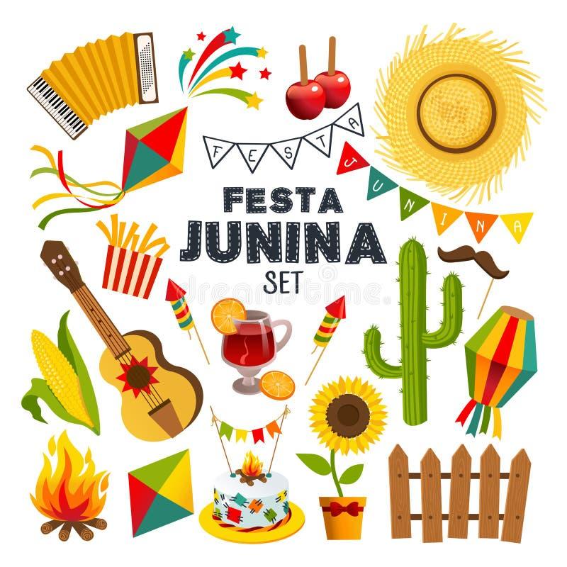 Предпосылка шаржа junina Festa с декоративной рамкой Праздник фольклора иллюстрация штока