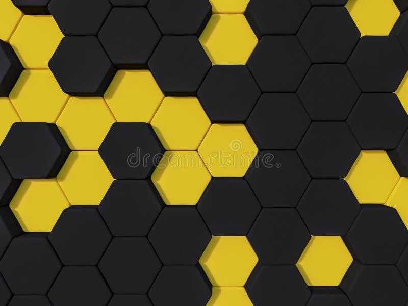 Предпосылка шестиугольника конспекта 3d Honeyomb желтая черная бесплатная иллюстрация