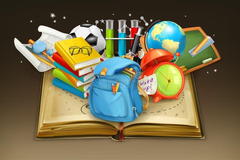 Предпосылка школы и книги иллюстрация вектора