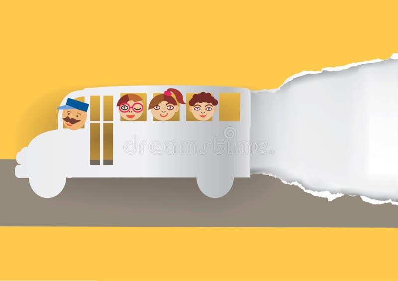 Предпосылка школьного автобуса бумажная иллюстрация вектора