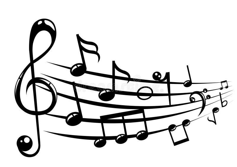 Предпосылка штата музыкальных примечаний с линиями иллюстрация штока