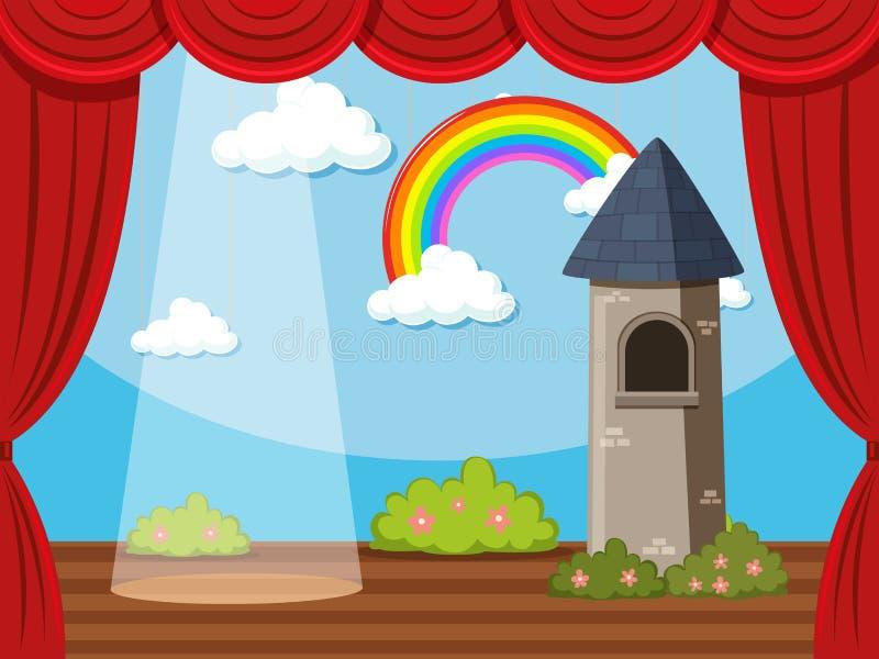 Предпосылка этапа с башней и радугой иллюстрация штока