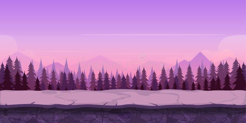 Предпосылка для вашей игры, созданная в современных фиолетовых цветах Время захода солнца и сумерк иллюстрация вектора