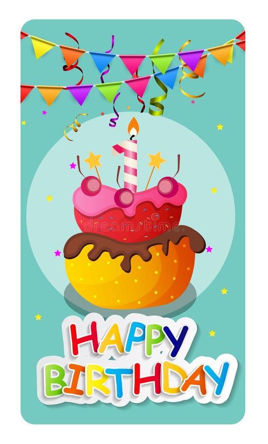 Предпосылка Baner поздравительой открытки ко дню рождения с днем рождений с тортом и флагами Vecto иллюстрация вектора