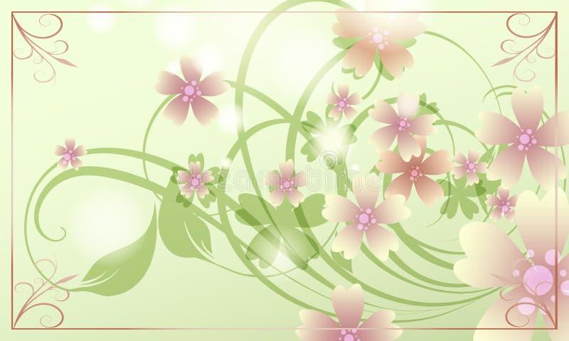 предпосылка birdies вал весны пар bloosom сказовый флористический иллюстрация штока