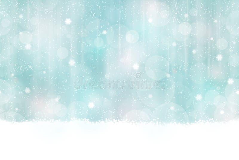 Предпосылка bokeh зимы безшовная горизонтально иллюстрация штока