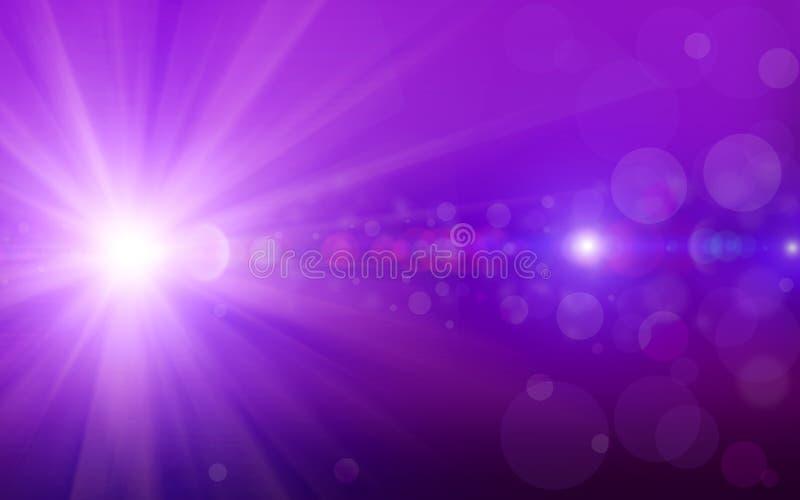 Предпосылка Bokeh с фиолетовым ярким блеском сверкнает bokeh светов лучей на фиолетовой предпосылке иллюстрация вектора
