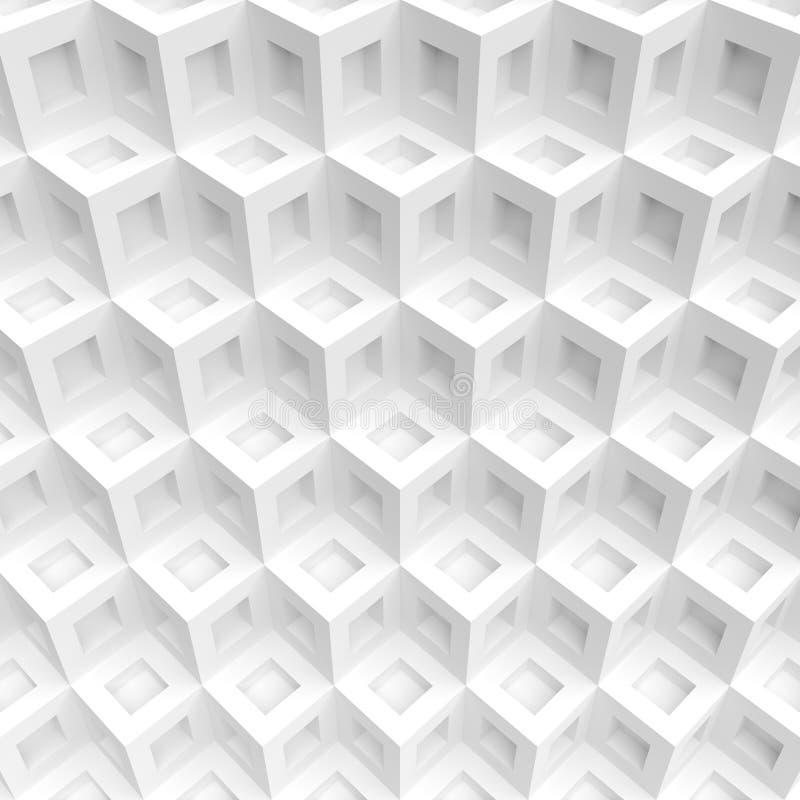 предпосылка cubes белизна абстрактная конструкция футуристическая иллюстрация вектора