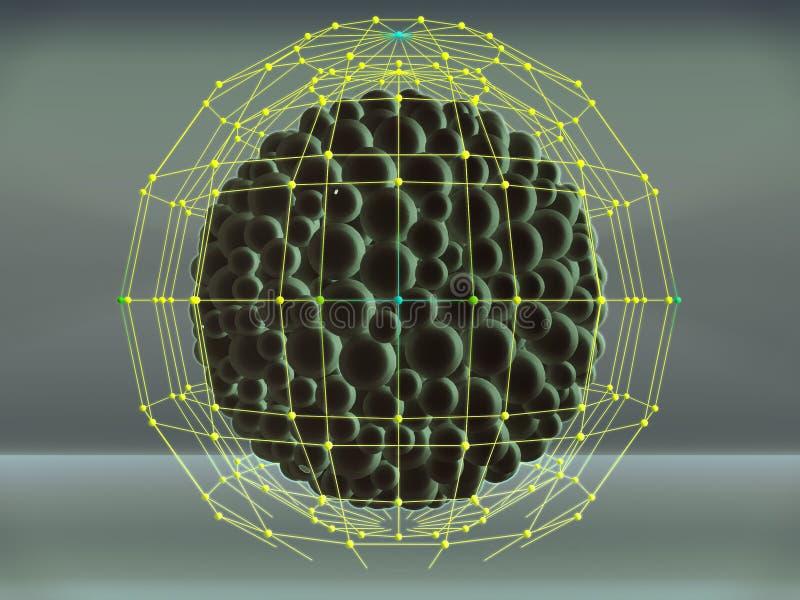 предпосылка 3D с массивами сфер и атома отражения стоковое изображение rf
