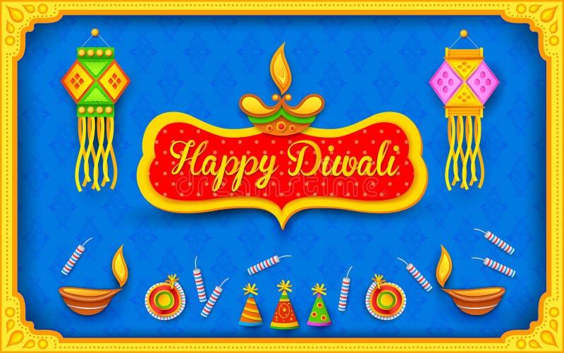 Предпосылка Diwali с красочным фейерверком иллюстрация вектора