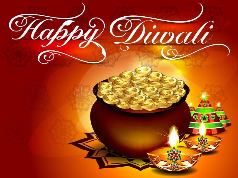 Предпосылка Diwali с флористическим иллюстрация вектора