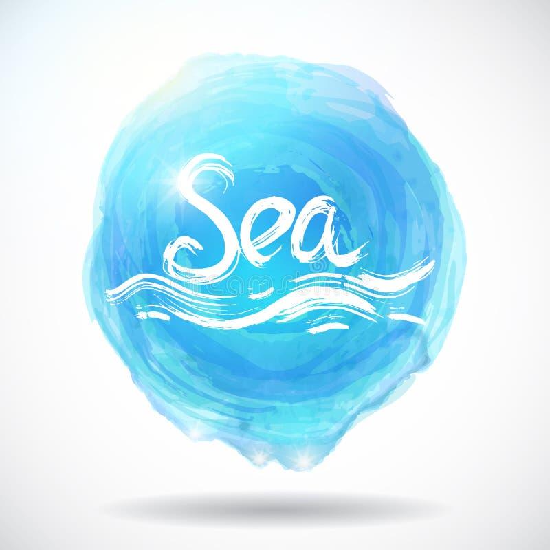 Предпосылка Grunge абстрактная с ярким голубым выплеском Море вектор иллюстрация штока