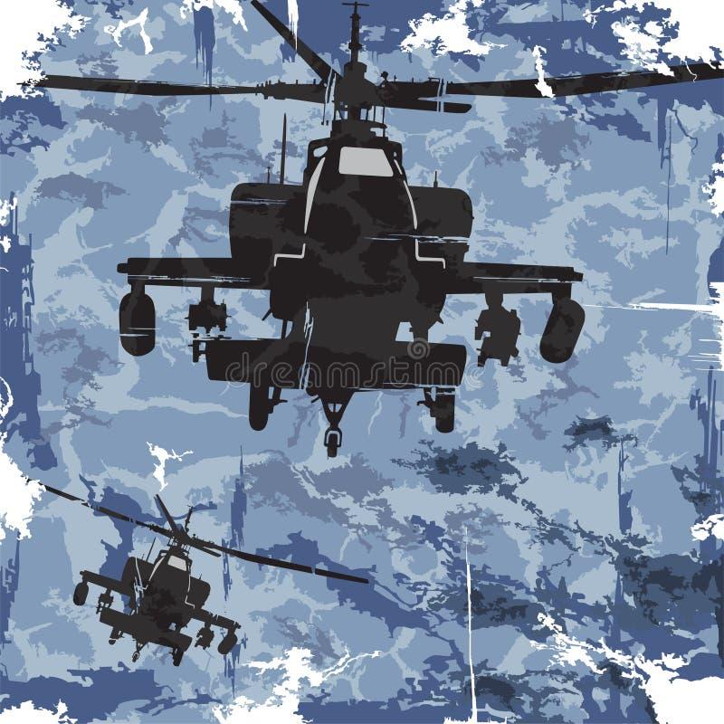 Предпосылка grunge армии с вертолетом вектор бесплатная иллюстрация