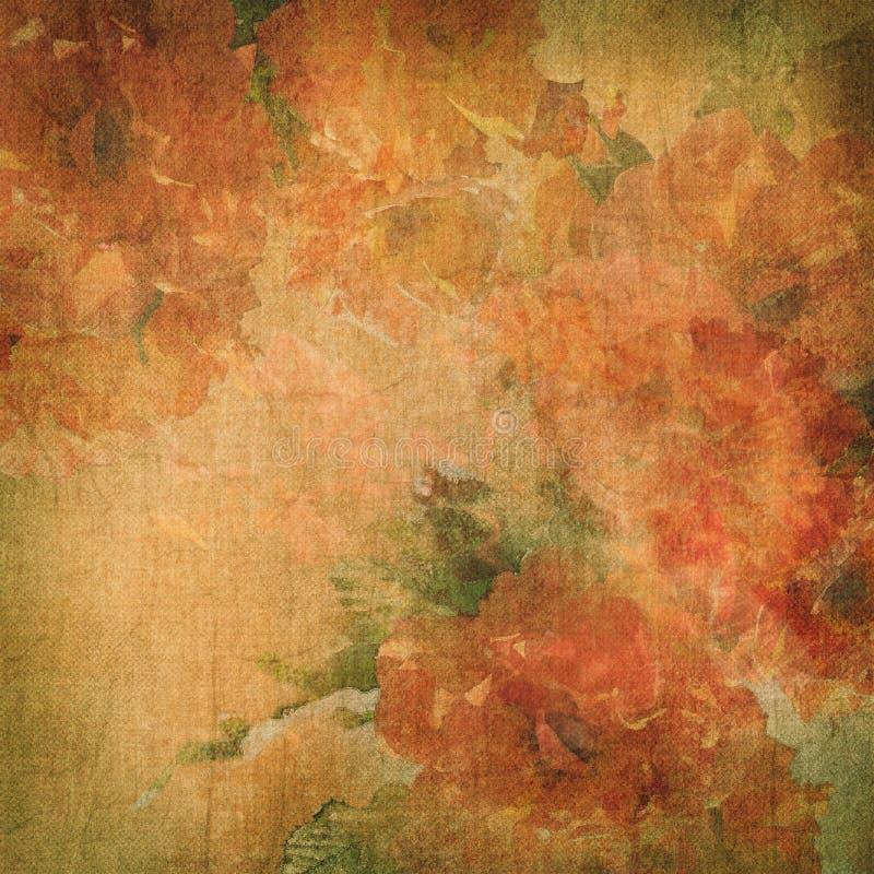 Предпосылка год сбора винограда с цветками (розы) иллюстрация штока