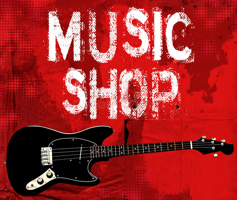 Предпосылка grunge магазина музыки стоковое фото rf