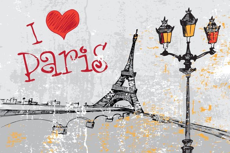 Предпосылка grunge Парижа с Эйфелевой башней стоковое фото rf