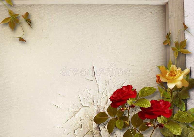 Предпосылка Grunge с винтажным букетом роз стоковые изображения rf