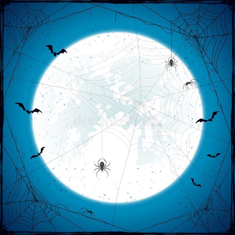 Предпосылка grunge хеллоуина с луной и пауками иллюстрация штока