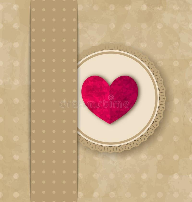 Предпосылка grunge элегантности дня валентинки ретро с розовым сердцем бесплатная иллюстрация