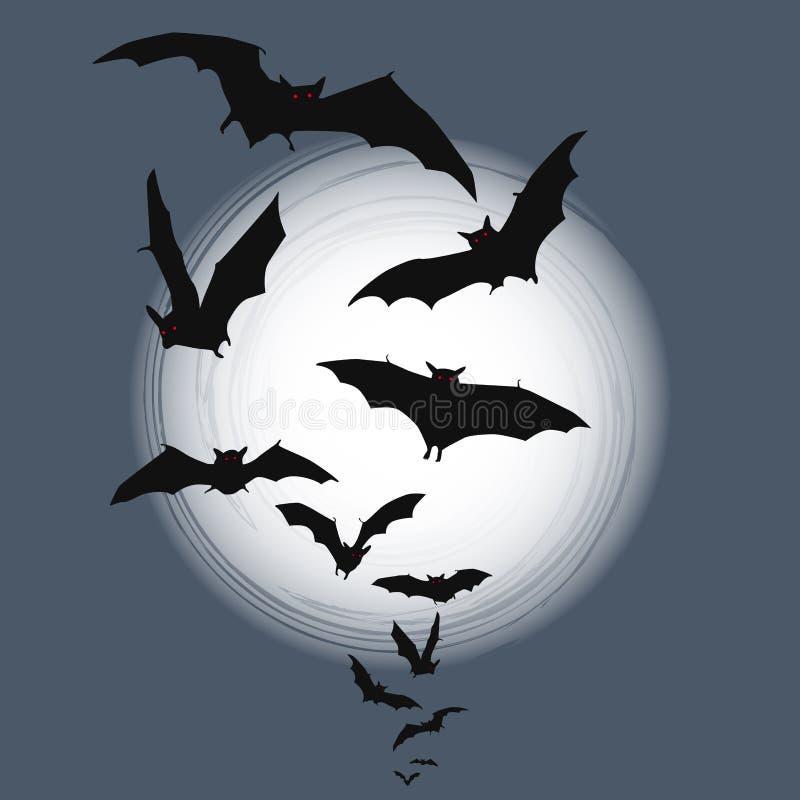 Предпосылка Halloween - летучие мыши летания в полнолунии иллюстрация вектора