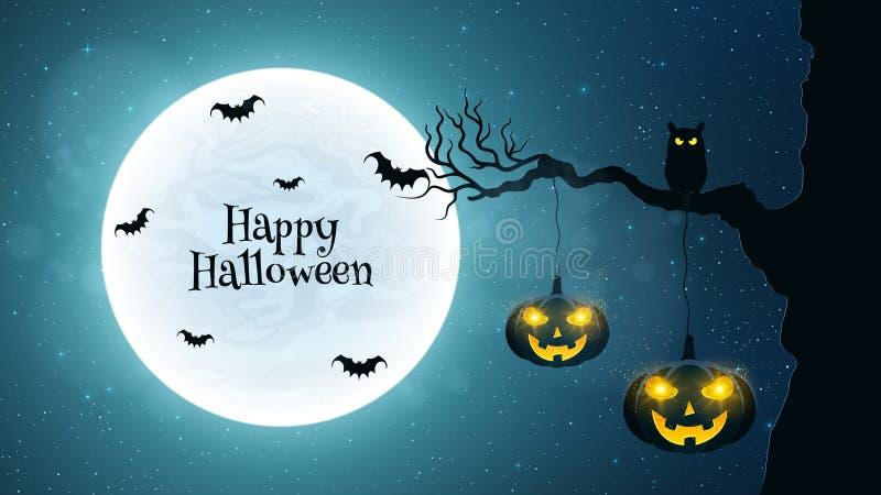 предпосылка halloween Черный сыч сидит на дереве Летучие мыши летают на фоне полнолуния Тыквы хеллоуина с заревом иллюстрация штока