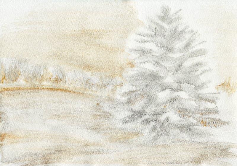 Предпосылка Snowy покрашенная сосной бесплатная иллюстрация