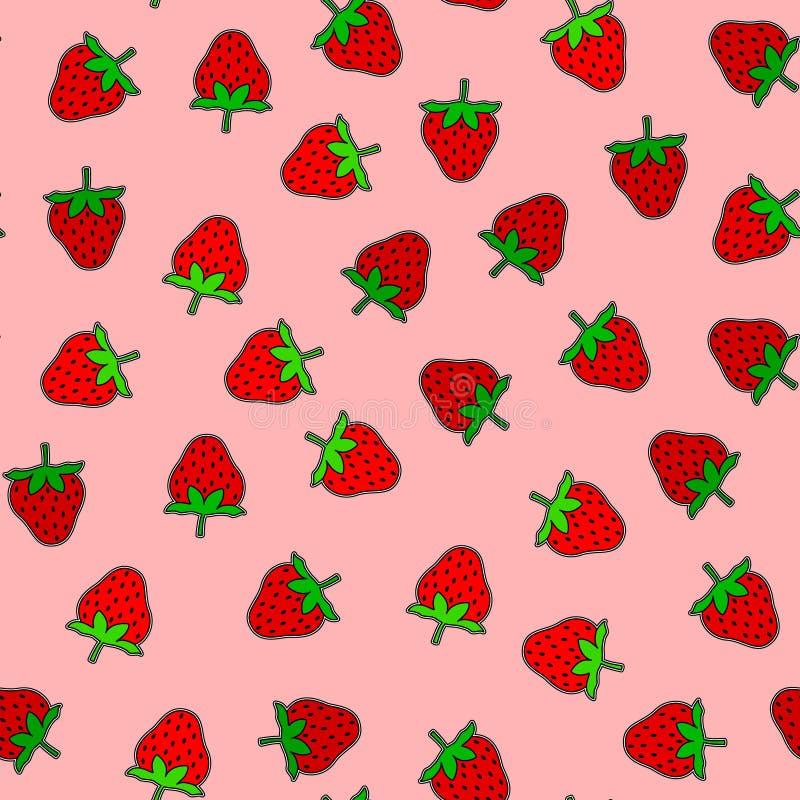 Предпосылка Strawberrys безшовная иллюстрация вектора