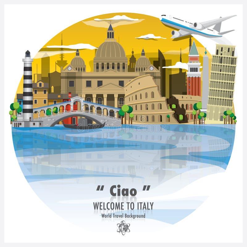 Предпосылка v перемещения и путешествия итальянского ориентир ориентира республики глобальная стоковые изображения
