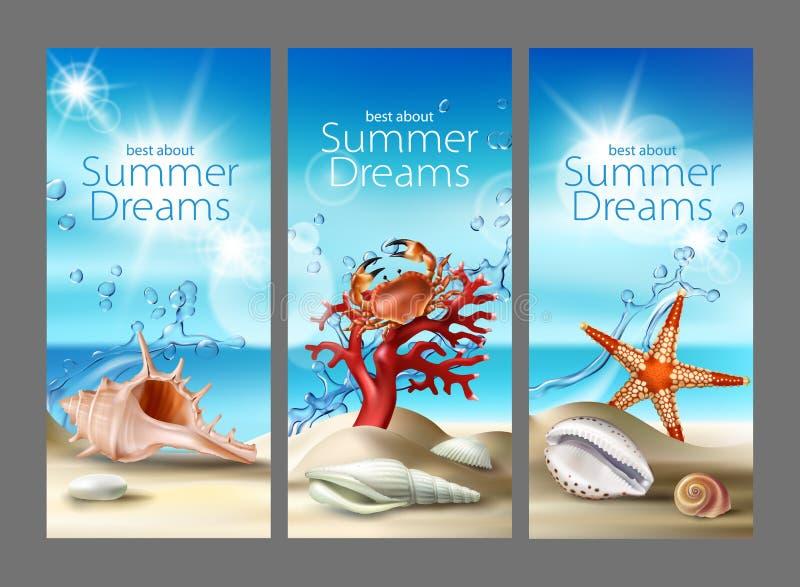 3 предпосылки бирюзы вектора с песчаным пляжем, seashells, камешками, морскими звёздами, крабом и кораллом лета иллюстрация штока