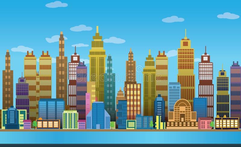 Предпосылки игры города, 2d применение игры иллюстрация штока