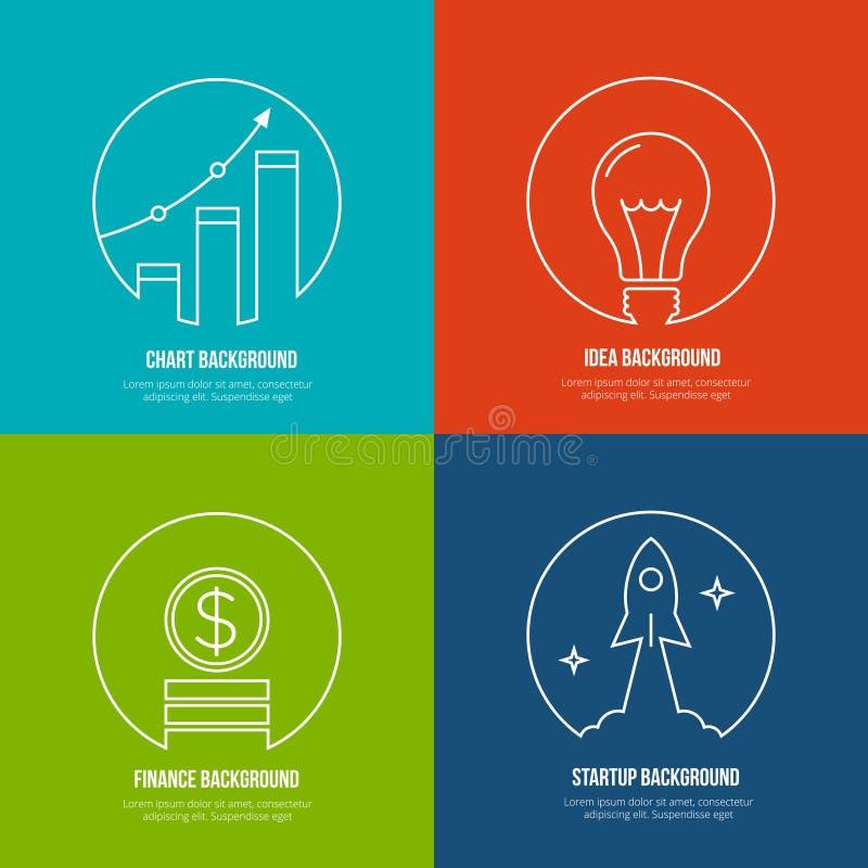 Предпосылки искусства бизнес-линии Финансы и иллюстрация вектора