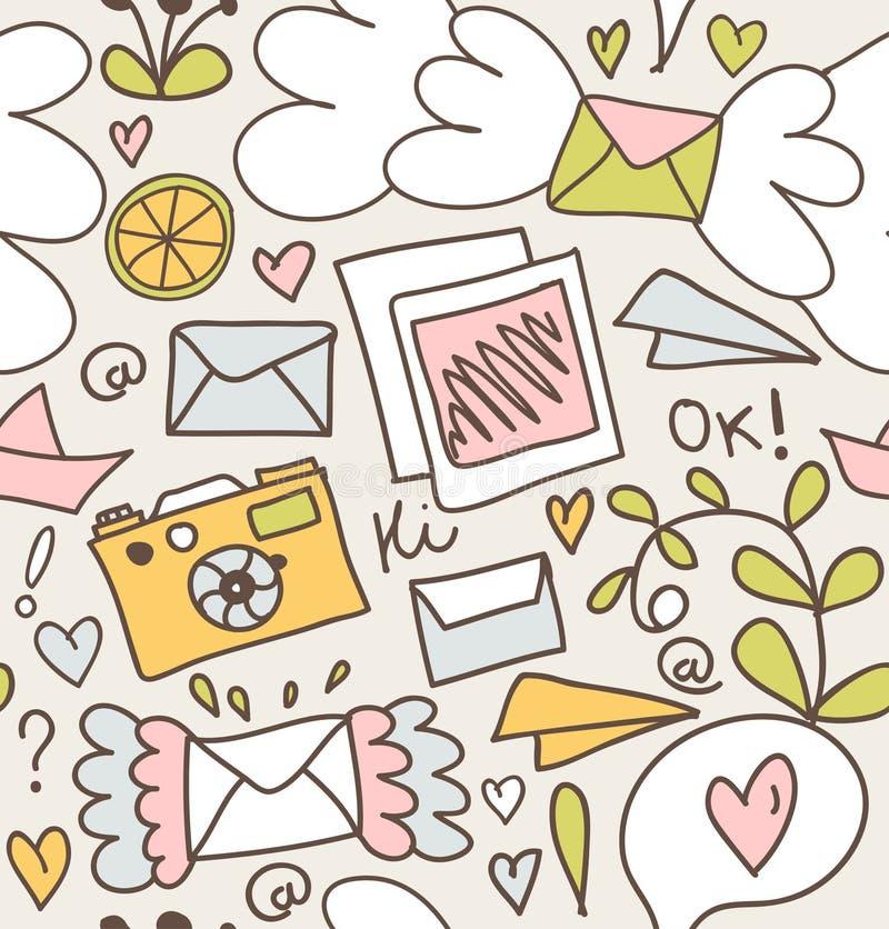 Предпосылки столба безшовной картины почты декоративные с письмами, камерой, приносить иллюстрация штока