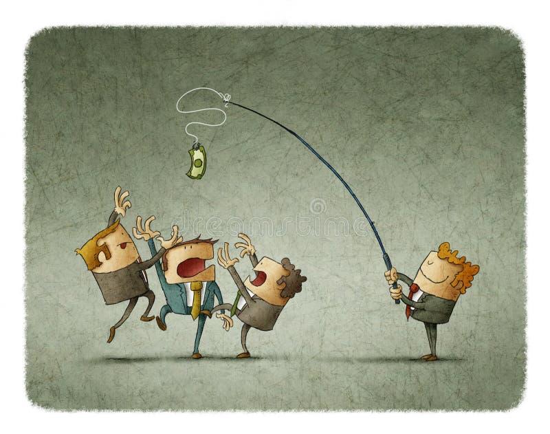 Предприниматели пробуя уловить банкноту бесплатная иллюстрация