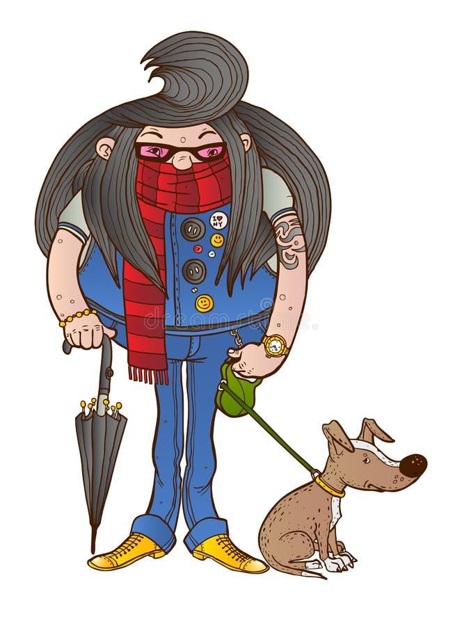 Предприниматель с длинными волосами идет ее собака стоковые фотографии rf