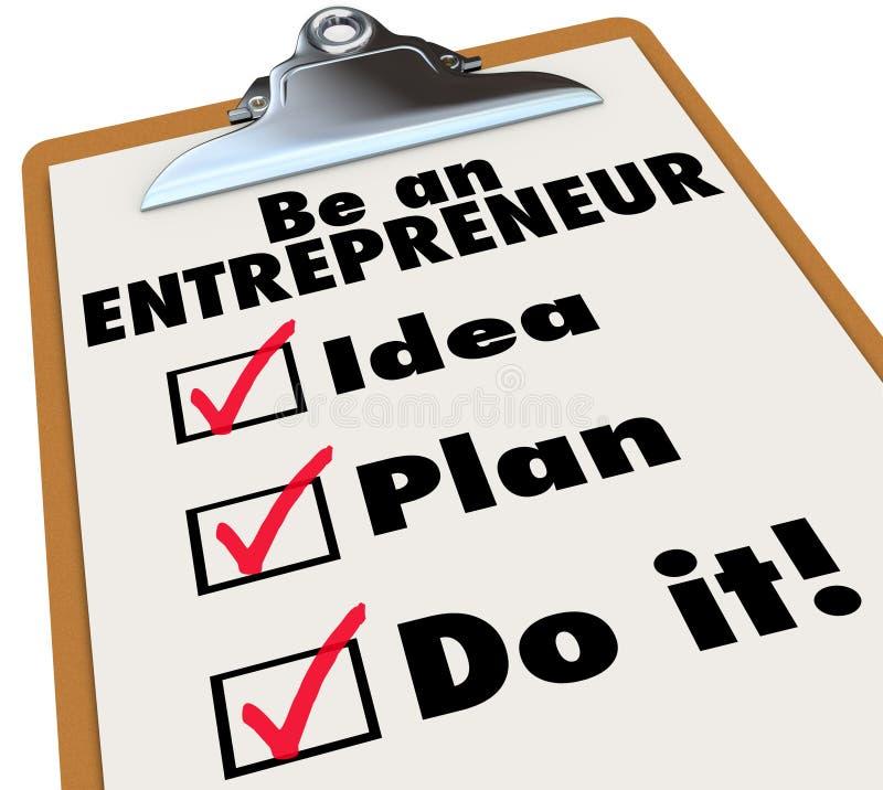Предприниматель для того чтобы сделать план идеи списка сделайте его иллюстрация штока